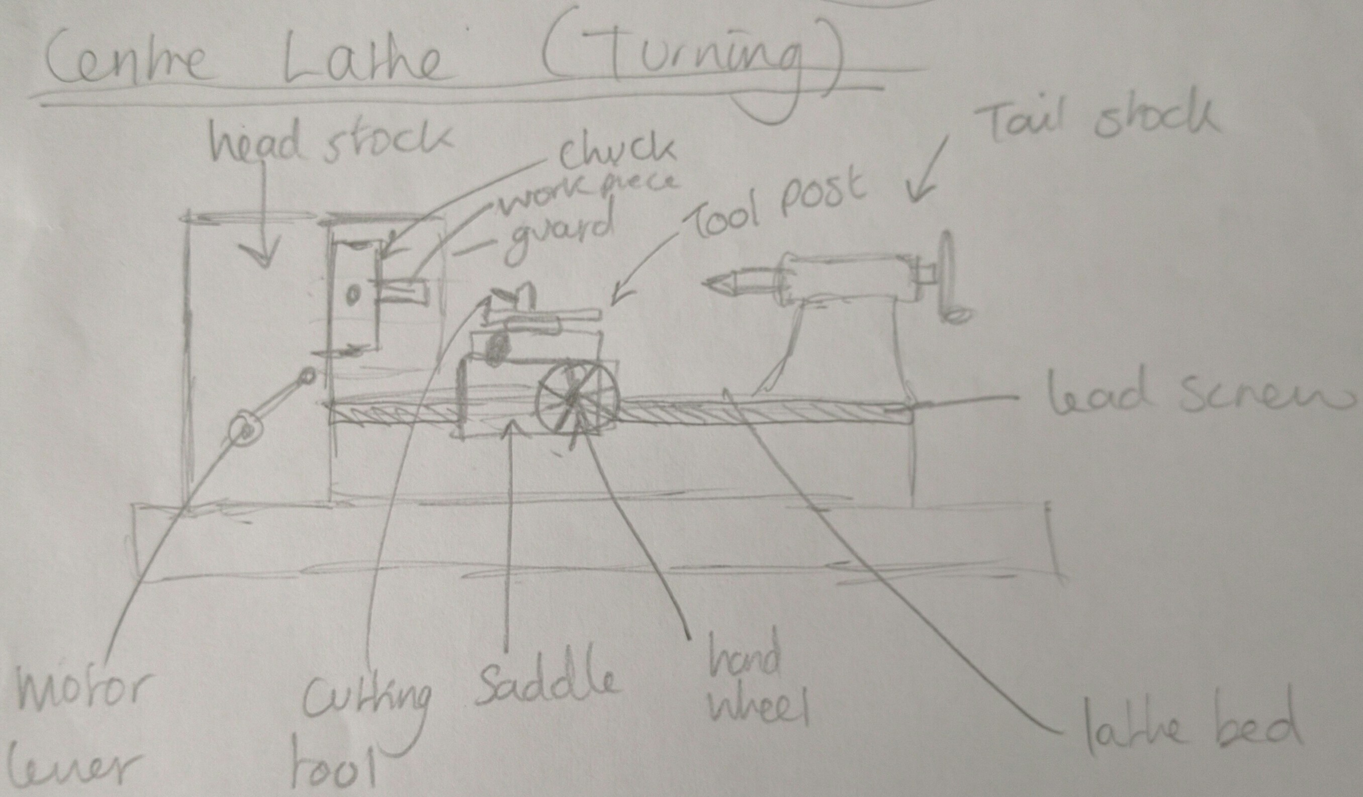 Centre lathe drawing